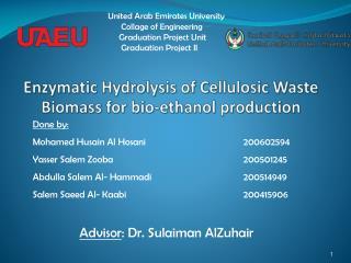 Enzymatic Hydrolysis of Cellulosic Waste Biomass for bio-ethanol production