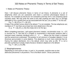 323 Notes on Phonemic Theory in Terms of Set Theory