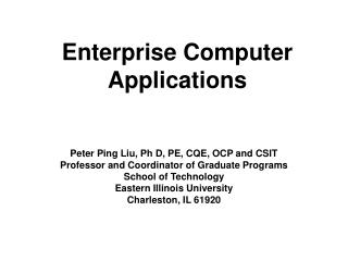 Enterprise Computer Applications