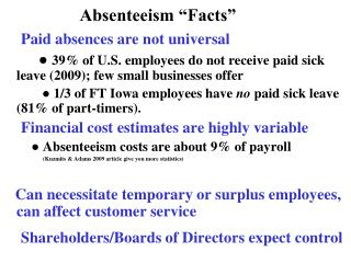 absenteeism issues     not universal           only half of hourly employees in              iowa have any paid sick lea