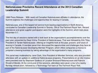 NationaLease Proclaims Record Attendance at the 2013