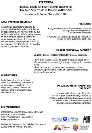 TIPATSMA   Tableau Interactif pour Patients Atteints de  Troubles S v res de la Maladie d Alzheimer  Laur at de la Bours