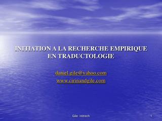 INITIATION A LA RECHERCHE EMPIRIQUE EN TRADUCTOLOGIE