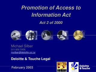 Promotion of Access to Information Act  Act 2 of 2000