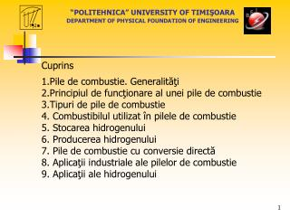 POLITEHNICA  UNIVERSITY OF TIMISOARA   DEPARTMENT OF PHYSICAL FOUNDATION OF ENGINEERING