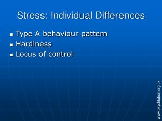 Stress: Individual Differences