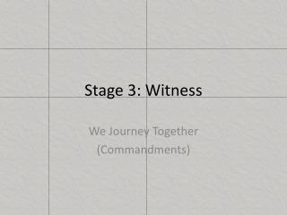 Stage 3: Witness