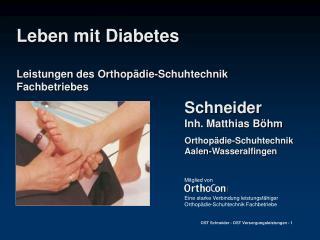 Leben mit Diabetes  Leistungen des Orthop die-Schuhtechnik Fachbetriebes