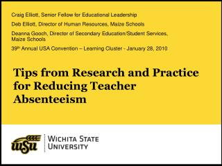 tips from research and practice for reducing teacher absenteeism