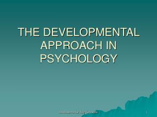 THE DEVELOPMENTAL APPROACH IN PSYCHOLOGY