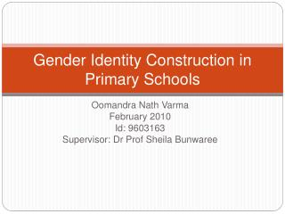 Gender Identity Construction in Primary Schools