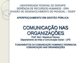 COMUNICA  O NAS ORGANIZA  ES Prof . MsC. Messiluce Hansen Departamento de Artes e Comunica  o Social   UFS  FUNDAMENTOS