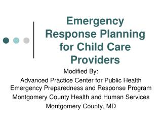 Emergency Response Planning for Child Care Providers