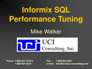 Informix SQL Performance Tuning