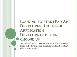 MADI leads market as iPad App Development