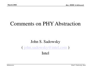 Comments on PHY Abstraction