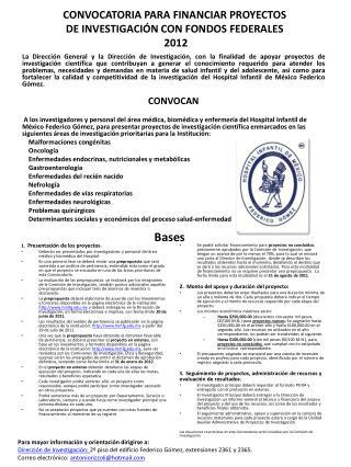 CONVOCATORIA PARA FINANCIAR PROYECTOS DE INVESTIGACI N CON FONDOS FEDERALES  2012