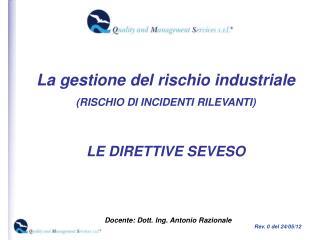 La gestione del rischio industriale  RISCHIO DI INCIDENTI RILEVANTI   LE DIRETTIVE SEVESO