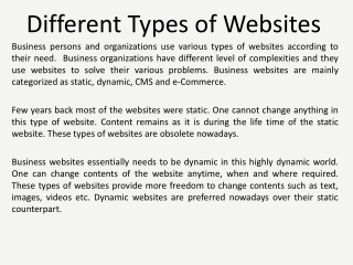 Different Types of Websites