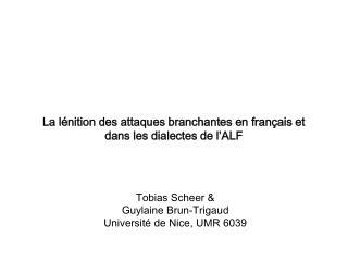 Tobias Scheer  Guylaine Brun-Trigaud Universit  de Nice, UMR 6039