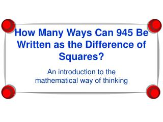 How Many Ways Can 945 be Written as the Difference of Squares: