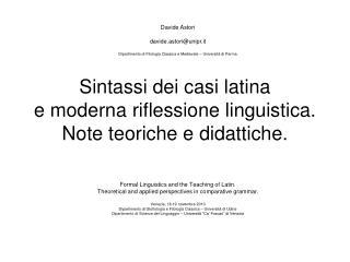 Sintassi dei casi latina e moderna riflessione linguistica. Note teoriche e didattiche.