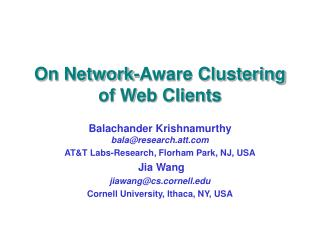 On Network-Aware Clustering of Web Clients