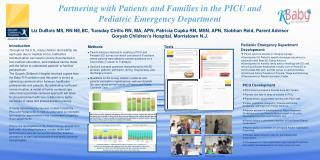 Partnering with Patients and Families in the PICU and  Pediatric Emergency Department