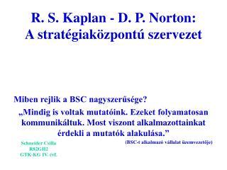 R. S. Kaplan - D. P. Norton: A strat giak zpont  szervezet