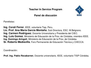 Teacher In Service Program  Panel de discusi n