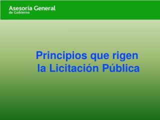 Principios que rigen  la Licitaci n P blica