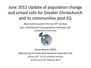 June 2012 Update of population change and school rolls for Greater Christchurch and its communities post EQ