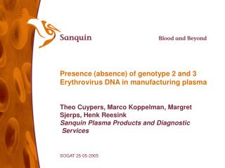 presence absence of genotype 2 and 3 erythrovirus dna in manufacturing plasma