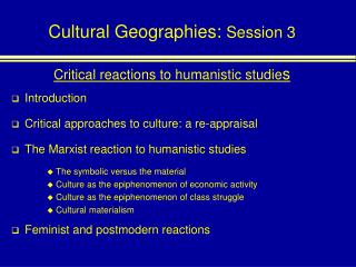 Cultural Geographies: Session 3