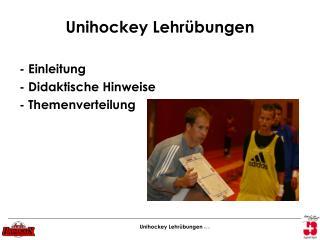 Unihockey Lehr bungen