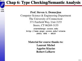 Chap 6: Type Checking