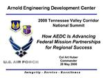 2008 Tennessee Valley Corridor  National Summit   How AEDC Is Advancing  Federal Mission Partnerships  for Regional Succ