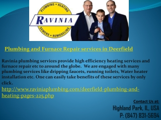 Plumbing and Furnace Repair services in Deerfield