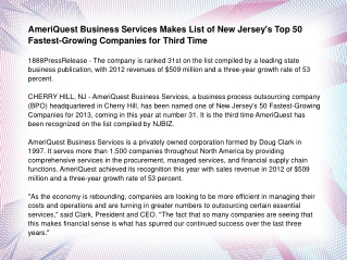 AmeriQuest Business Services Makes List of New Jersey