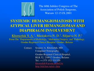 systemic hemangiomatosis with atypical liver hemangiomas and diaphragm involvement