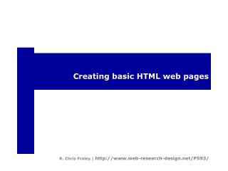 Creating basic HTML web pages