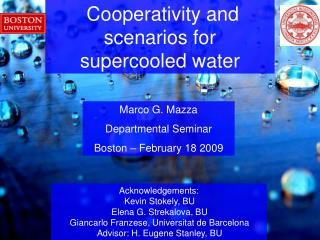 Marco G. Mazza Departmental Seminar Boston   February 18 2009