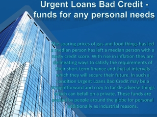 Urgent Loans with Bad Credit