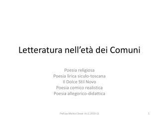 Letteratura nell et  dei Comuni