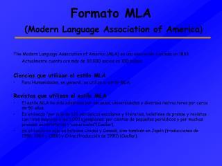 Formato MLA  Modern Language Association of America