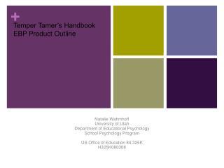 Temper Tamer s Handbook EBP Product Outline