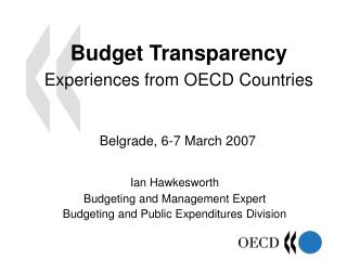 Budget Transparency Experiences from OECD Countries