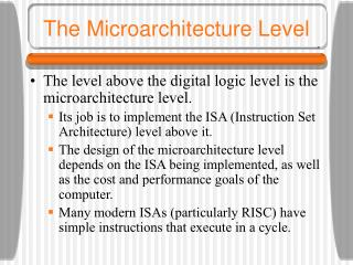 the microarchitecture level
