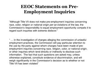 EEOC Statements on Pre-Employment Inquiries