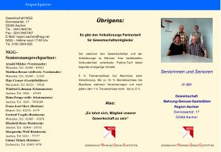 Gewerkschaft NGG Dennewartstr. 17 52068 Aachen Tel.:  0241